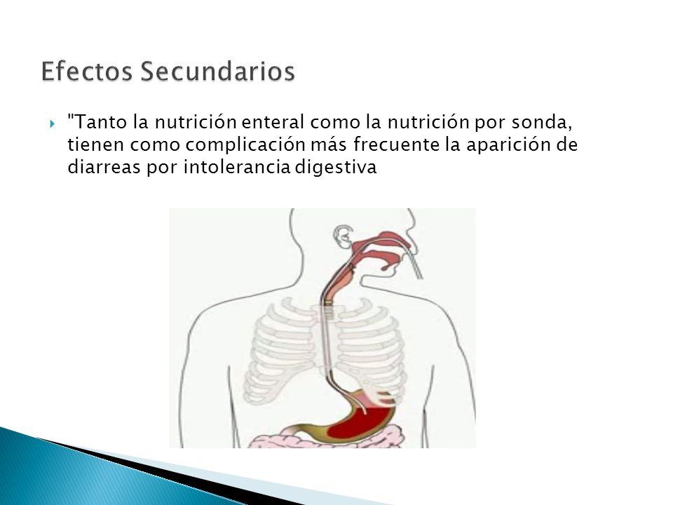  Tanto la nutrición enteral como la nutrición por sonda, tienen como complicación más frecuente la aparición de diarreas por intolerancia digestiva