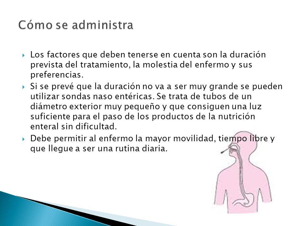  Los factores que deben tenerse en cuenta son la duración prevista del tratamiento, la molestia del enfermo y sus preferencias.