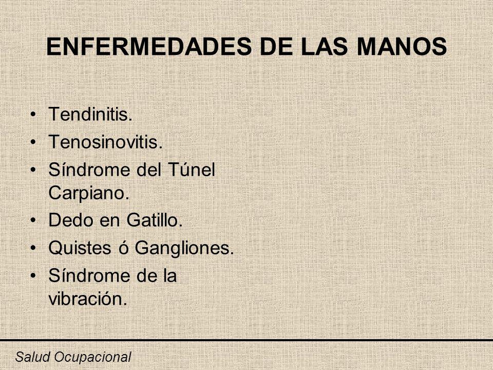ENFERMEDADES DE LAS MANOS Tendinitis. Tenosinovitis. Síndrome del Túnel Carpiano. Dedo en Gatillo. Quistes ó Gangliones. Síndrome de la vibración. Sal