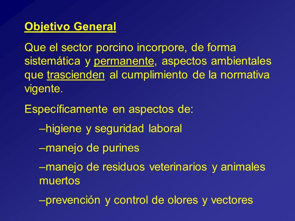Objetivo General Que el sector porcino incorpore, de forma sistemática y permanente, aspectos ambientales que trascienden al cumplimiento de la normativa vigente.
