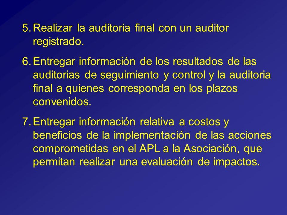5.Realizar la auditoria final con un auditor registrado.