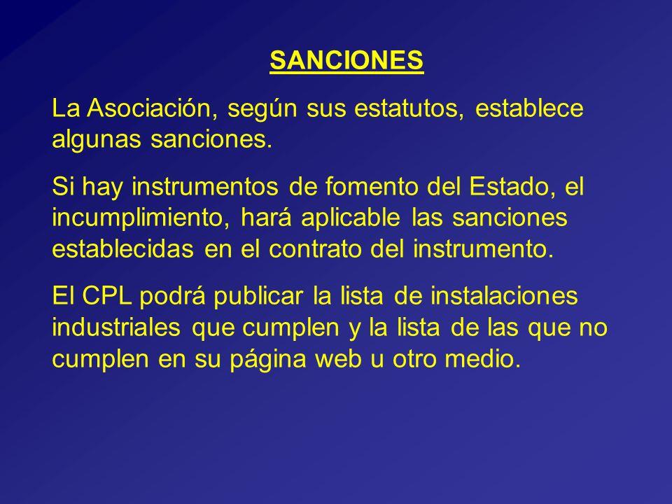 SANCIONES La Asociación, según sus estatutos, establece algunas sanciones.