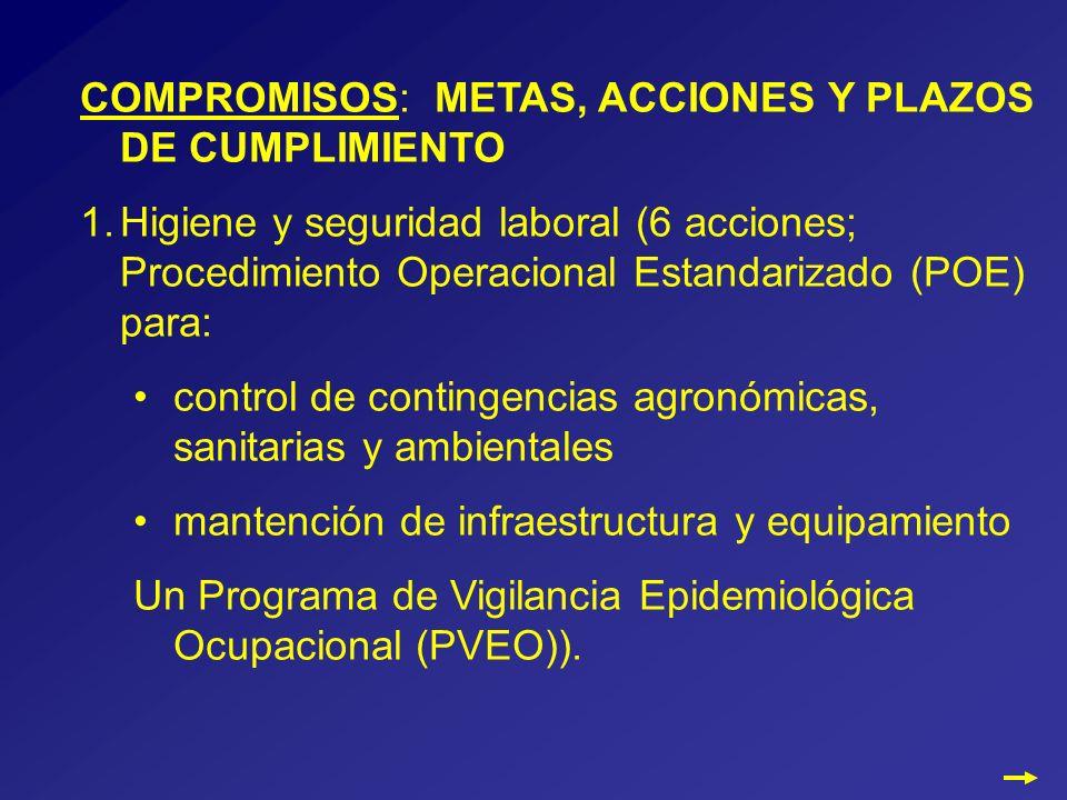 COMPROMISOS: METAS, ACCIONES Y PLAZOS DE CUMPLIMIENTO 1.Higiene y seguridad laboral (6 acciones; Procedimiento Operacional Estandarizado (POE) para: control de contingencias agronómicas, sanitarias y ambientales mantención de infraestructura y equipamiento Un Programa de Vigilancia Epidemiológica Ocupacional (PVEO)).
