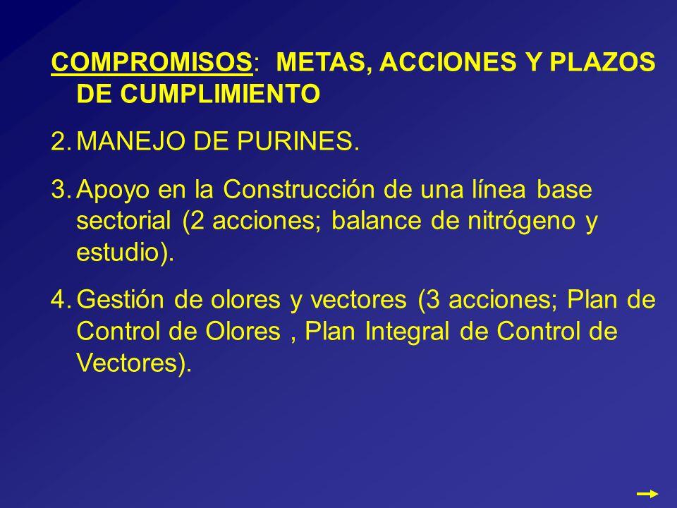 COMPROMISOS: METAS, ACCIONES Y PLAZOS DE CUMPLIMIENTO 2.MANEJO DE PURINES.