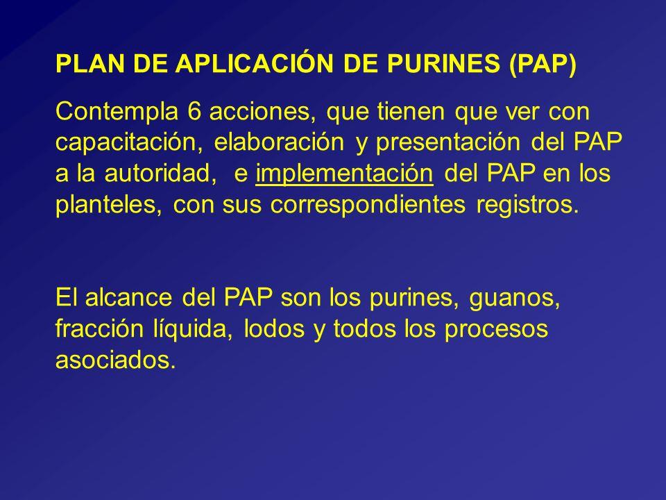 PLAN DE APLICACIÓN DE PURINES (PAP) Contempla 6 acciones, que tienen que ver con capacitación, elaboración y presentación del PAP a la autoridad, e implementación del PAP en los planteles, con sus correspondientes registros.