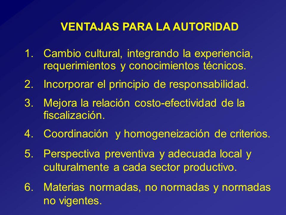 VENTAJAS PARA LA AUTORIDAD 1.Cambio cultural, integrando la experiencia, requerimientos y conocimientos técnicos.