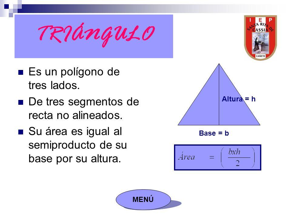 TRIÁNGULO Es un polígono de tres lados. De tres segmentos de recta no alineados.