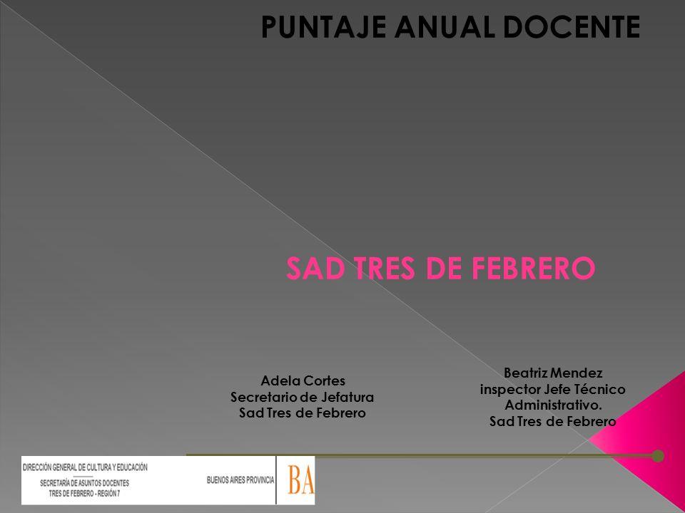 PUNTAJE ANUAL DOCENTE Adela Cortes Secretario de Jefatura Sad Tres de Febrero Beatriz Mendez inspector Jefe Técnico Administrativo.