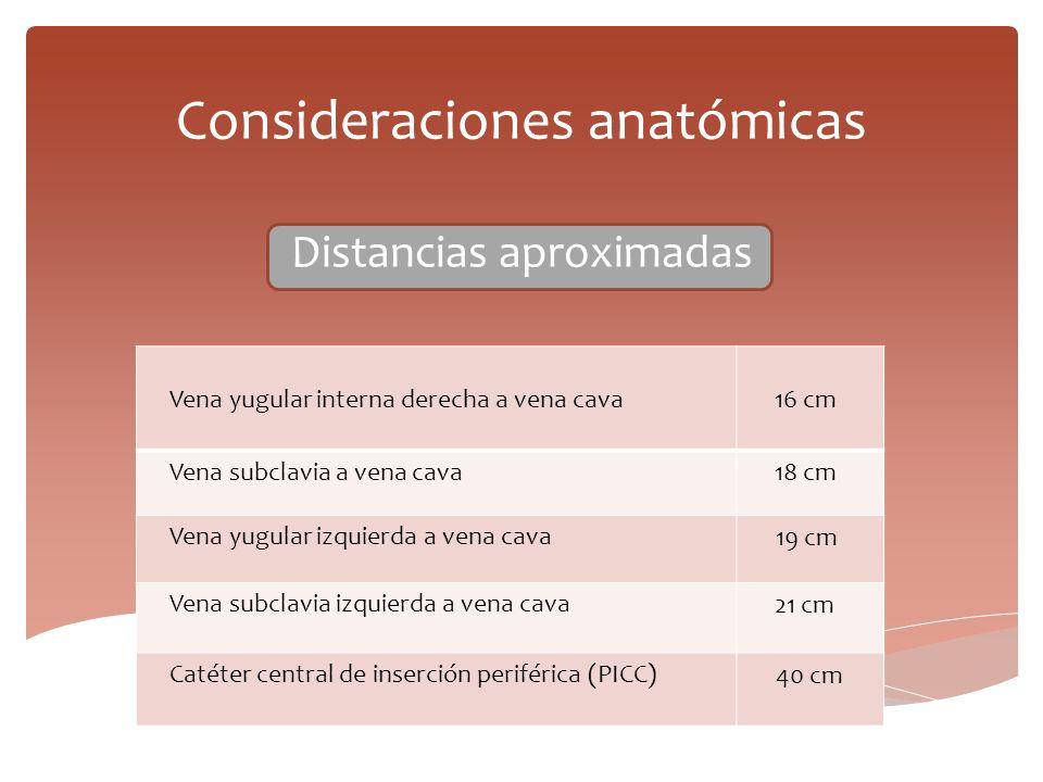 Consideraciones anatómicas Distancias aproximadas Vena yugular interna derecha a vena cava 16 cm Vena subclavia a vena cava 18 cm Vena yugular izquier