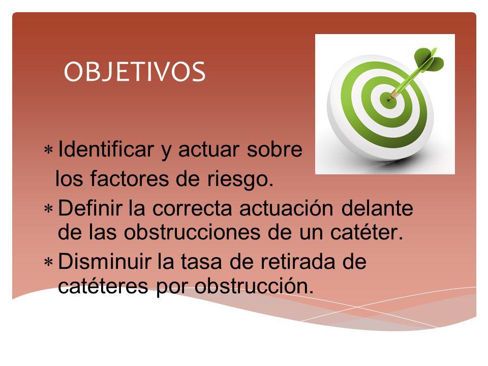  Identificar y actuar sobre los factores de riesgo.  Definir la correcta actuación delante de las obstrucciones de un catéter.  Disminuir la tasa d