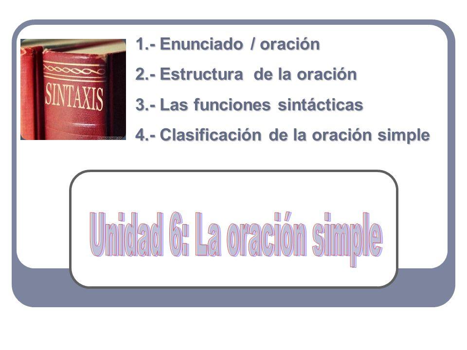 1.- Enunciado / oración 2.- Estructura de la oración 3.- Las funciones sintácticas 4.- Clasificación de la oración simple