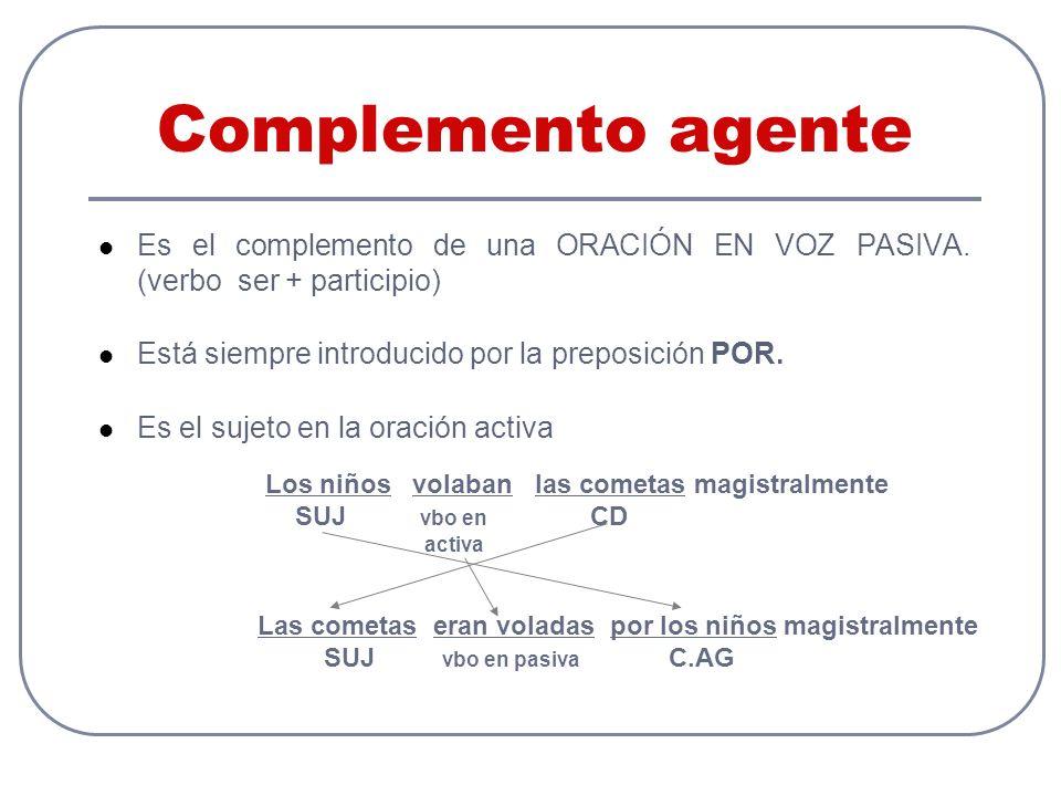 Complemento agente Es el complemento de una ORACIÓN EN VOZ PASIVA.