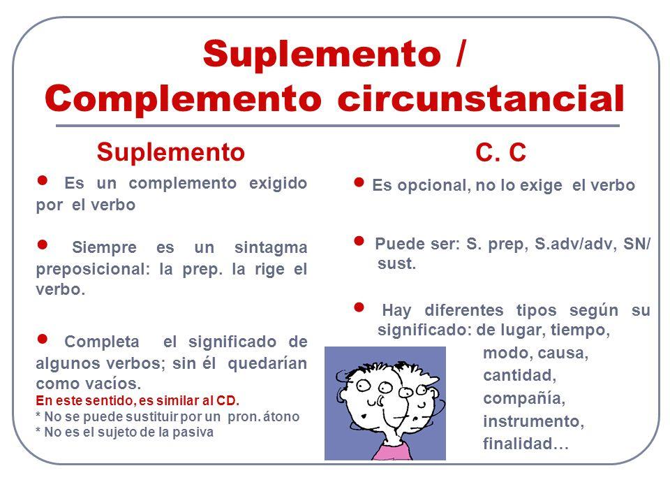 Suplemento / Complemento circunstancial C. C ● Es opcional, no lo exige el verbo ● Puede ser: S.