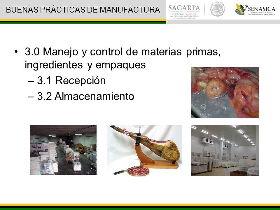 3.0 Manejo y control de materias primas, ingredientes y empaques –3.1 Recepción –3.2 Almacenamiento BUENAS PRÁCTICAS DE MANUFACTURA