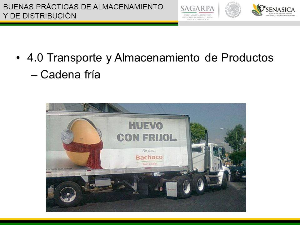 4.0 Transporte y Almacenamiento de Productos –Cadena fría BUENAS PRÁCTICAS DE ALMACENAMIENTO Y DE DISTRIBUCIÓN