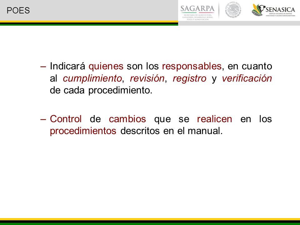 –Indicará quienes son los responsables, en cuanto al cumplimiento, revisión, registro y verificación de cada procedimiento.