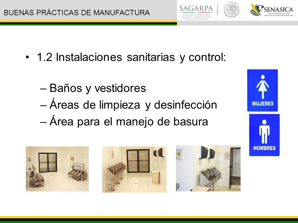 1.2 Instalaciones sanitarias y control: –Baños y vestidores –Áreas de limpieza y desinfección –Área para el manejo de basura BUENAS PRÁCTICAS DE MANUFACTURA