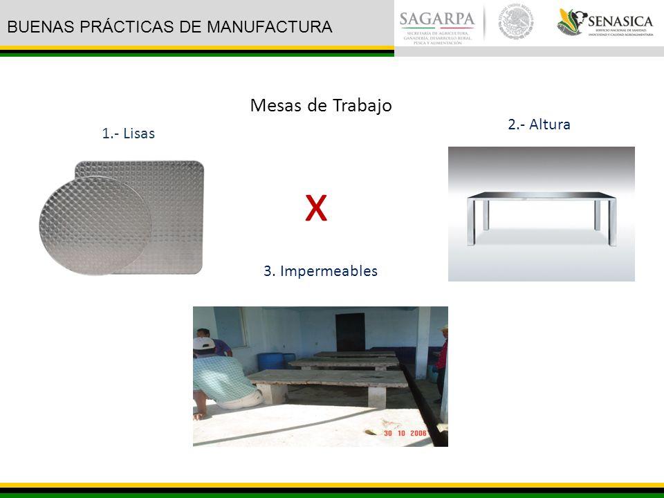 1.- Lisas 3. Impermeables 2.- Altura Mesas de Trabajo x BUENAS PRÁCTICAS DE MANUFACTURA