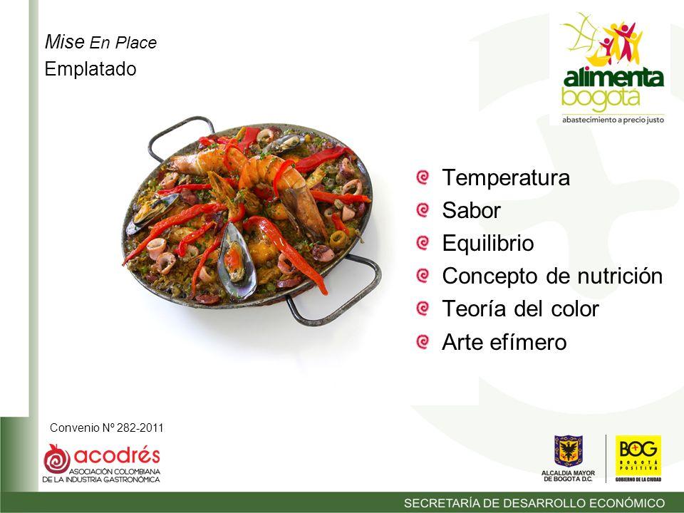 Convenio Nº 282-2011 Temperatura Sabor Equilibrio Concepto de nutrición Teoría del color Arte efímero Mise En Place Emplatado
