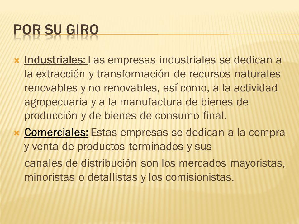  Industriales: Las empresas industriales se dedican a la extracción y transformación de recursos naturales renovables y no renovables, así como, a la actividad agropecuaria y a la manufactura de bienes de producción y de bienes de consumo final.