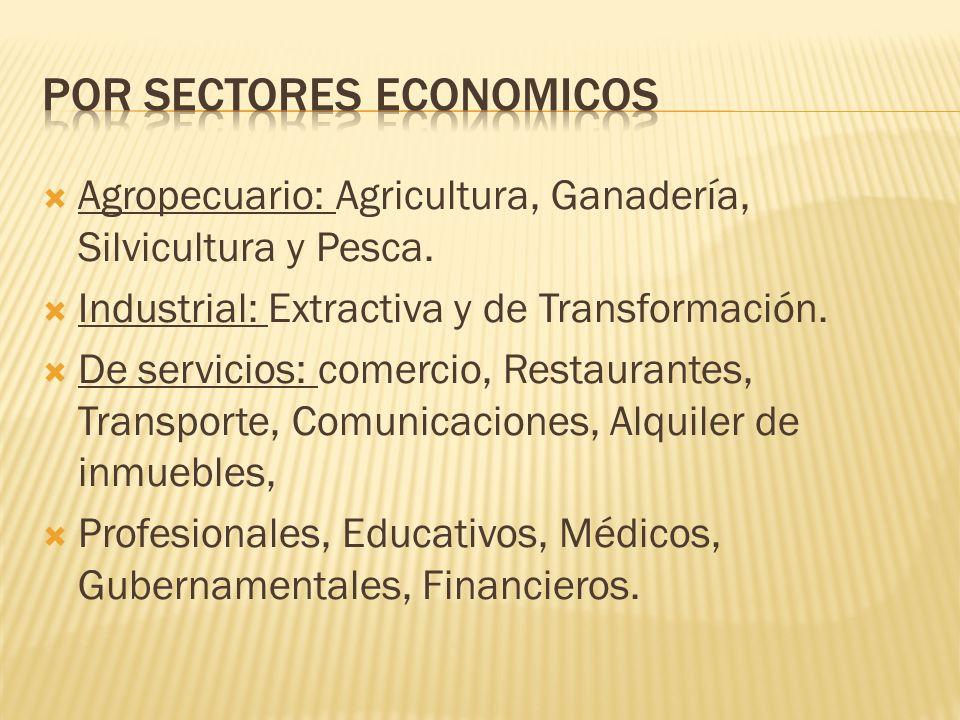  Agropecuario: Agricultura, Ganadería, Silvicultura y Pesca.