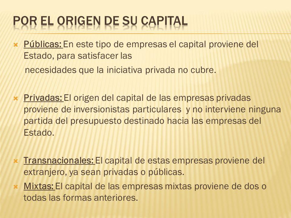  Públicas: En este tipo de empresas el capital proviene del Estado, para satisfacer las necesidades que la iniciativa privada no cubre.