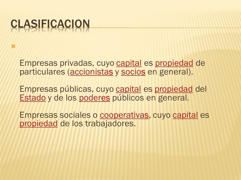  Empresas privadas, cuyo capital es propiedad de particulares (accionistas y socios en general).
