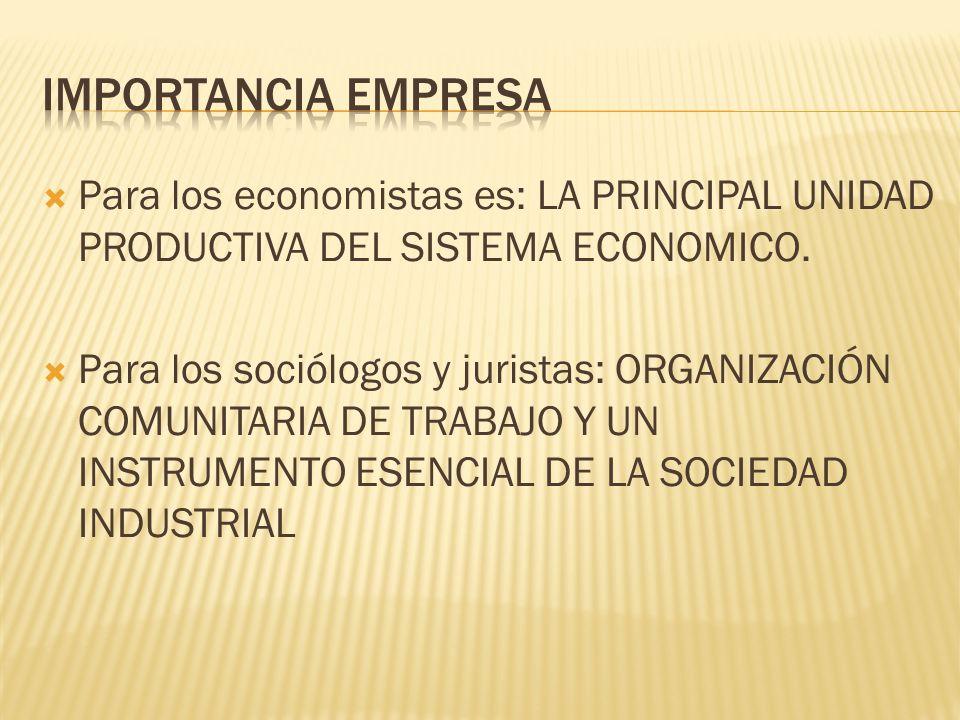  Para los economistas es: LA PRINCIPAL UNIDAD PRODUCTIVA DEL SISTEMA ECONOMICO.
