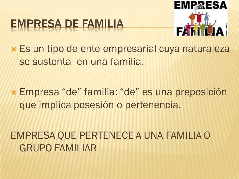  Es un tipo de ente empresarial cuya naturaleza se sustenta en una familia.