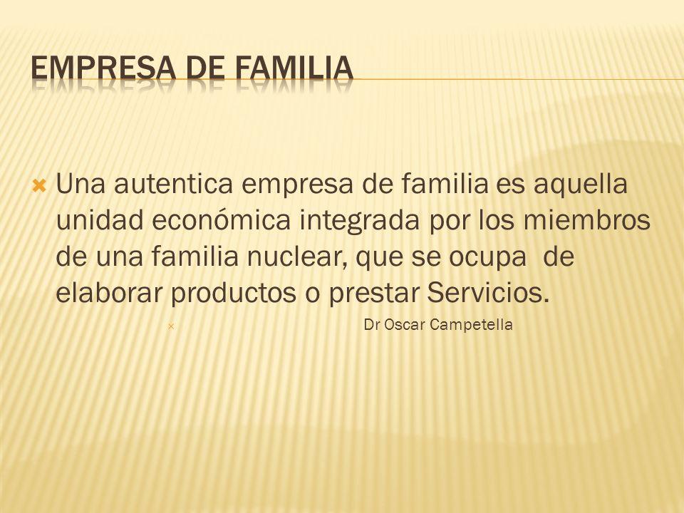  Una autentica empresa de familia es aquella unidad económica integrada por los miembros de una familia nuclear, que se ocupa de elaborar productos o prestar Servicios.