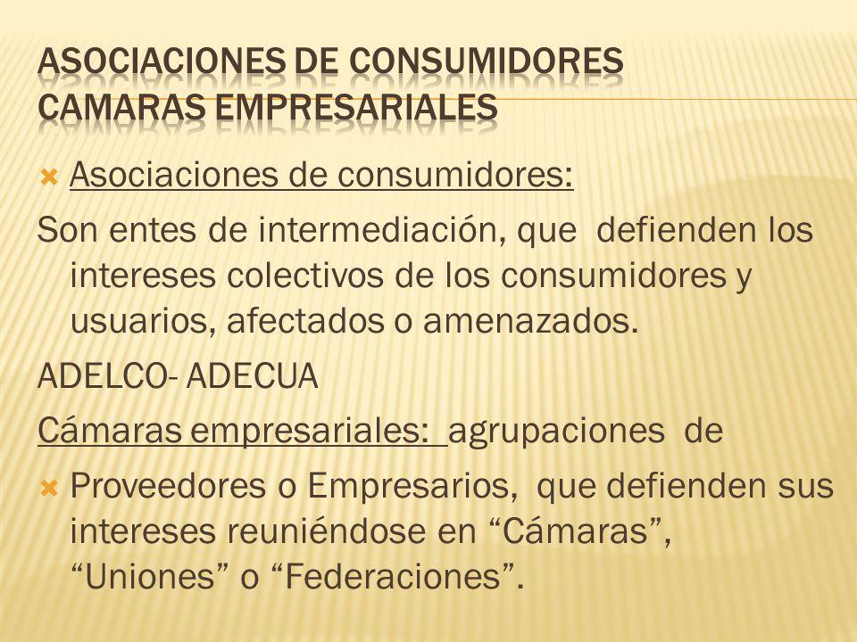  Asociaciones de consumidores: Son entes de intermediación, que defienden los intereses colectivos de los consumidores y usuarios, afectados o amenazados.