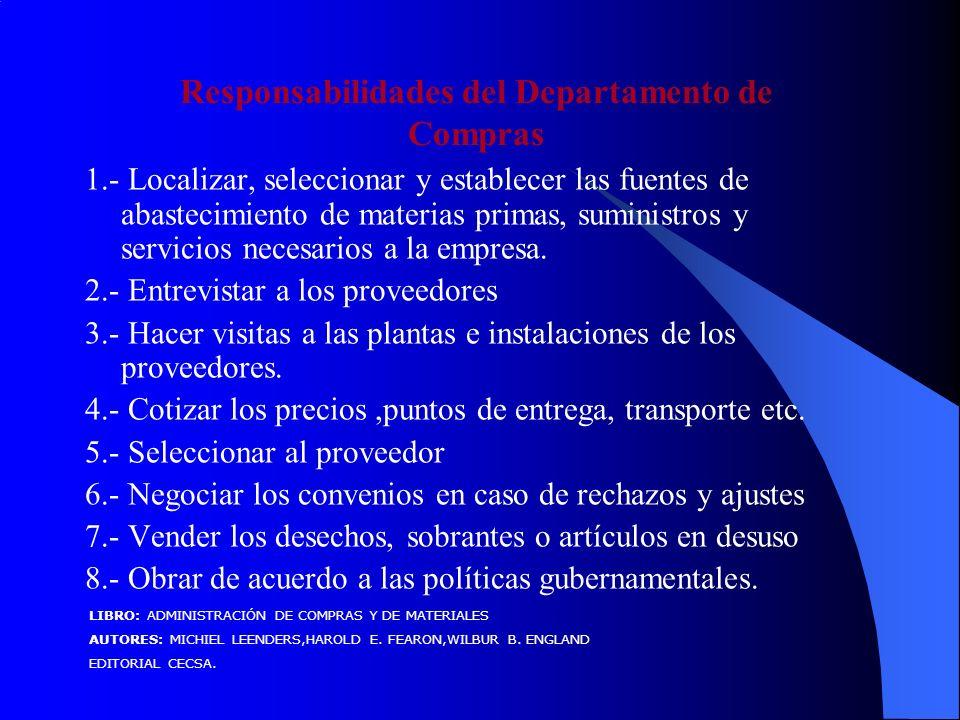 1.- Localizar, seleccionar y establecer las fuentes de abastecimiento de materias primas, suministros y servicios necesarios a la empresa.