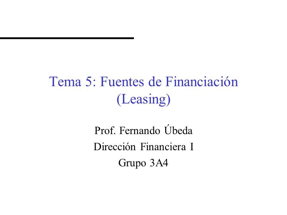 Tema 5: Fuentes de Financiación (Leasing) Prof. Fernando Úbeda Dirección Financiera I Grupo 3A4