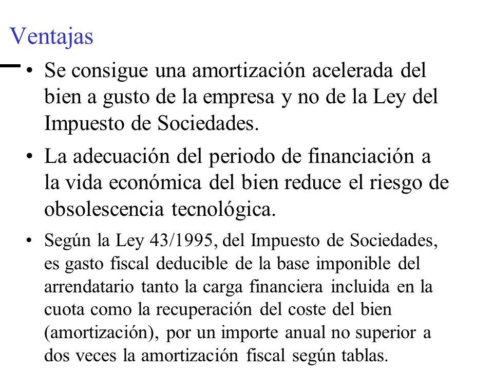 Ventajas Se consigue una amortización acelerada del bien a gusto de la empresa y no de la Ley del Impuesto de Sociedades.