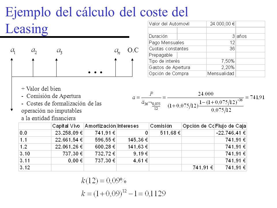 Ejemplo del cálculo del coste del Leasing + Valor del bien - Comisión de Apertura - Costes de formalización de las operación no imputables a la entidad financiera O.C