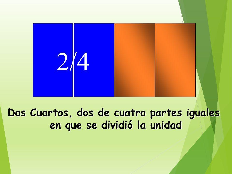 1/4 Un cuarto, uno de cuatro partes iguales en que se dividió la unidad.
