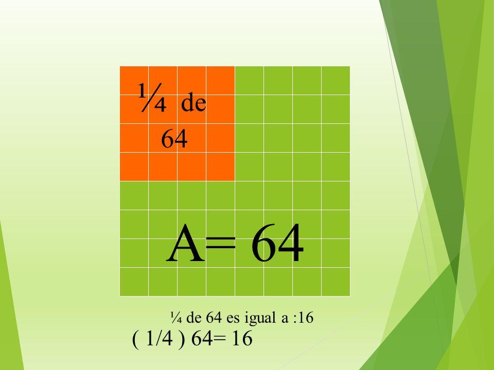 A= 64 ¿ Cuánto es un cuarto de 64 ?