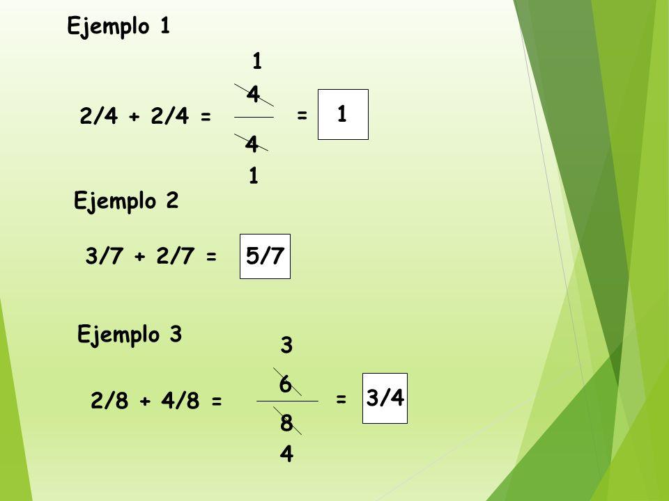 Para sumar fracciones de igual denominador,solamente sumamos los numeradores y dejamos el mismo denominador.