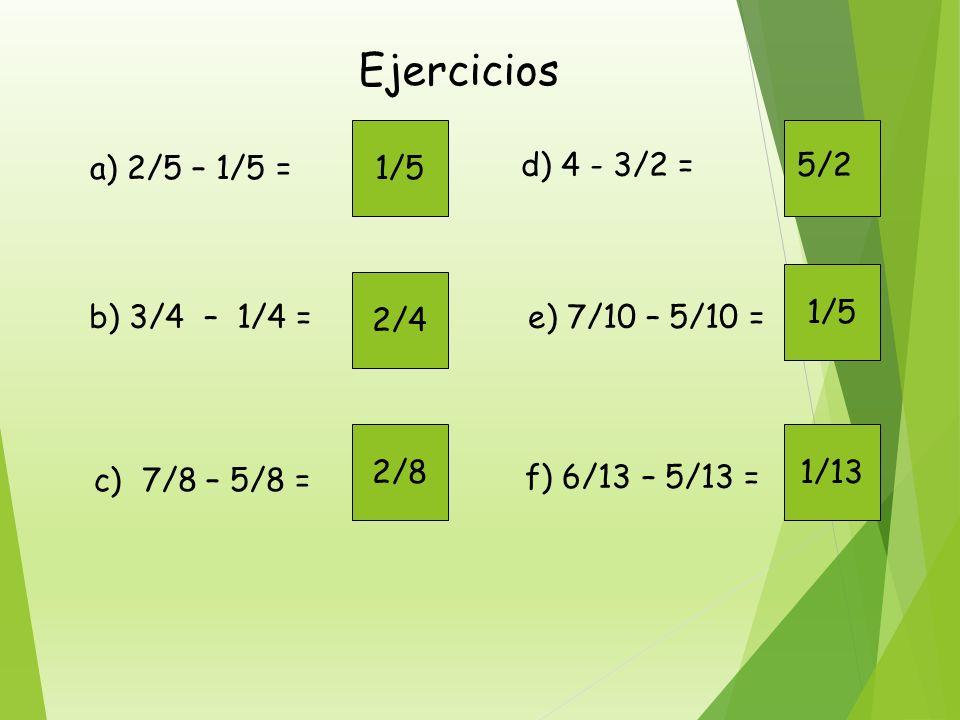 Otro ejemplo. Realizar : 2/3 –1/3 2 tercios – 1 tercio = ( 2 – 1 ) tercios.