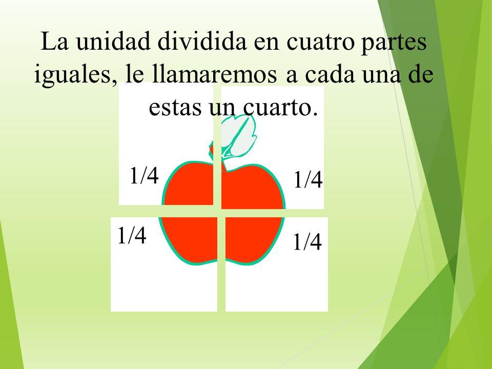 1/2 La unidad dividida en dos partes iguales, le llamamos a cada una un medio.