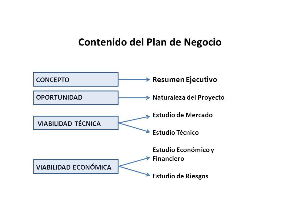 Contenido del Plan de Negocio CONCEPTO Resumen Ejecutivo OPORTUNIDADNaturaleza del Proyecto Estudio de Mercado VIABILIDAD TÉCNICA Estudio Técnico Estudio Económico y Financiero VIABILIDAD ECONÓMICA Estudio de Riesgos