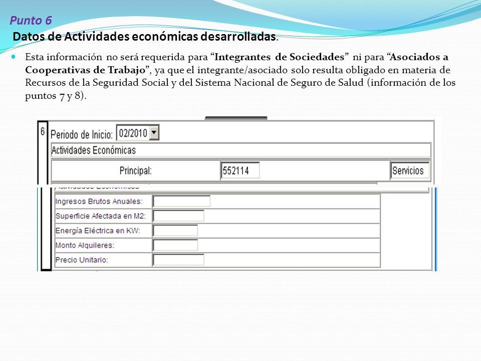 Punto 6 Datos de Actividades económicas desarrolladas.
