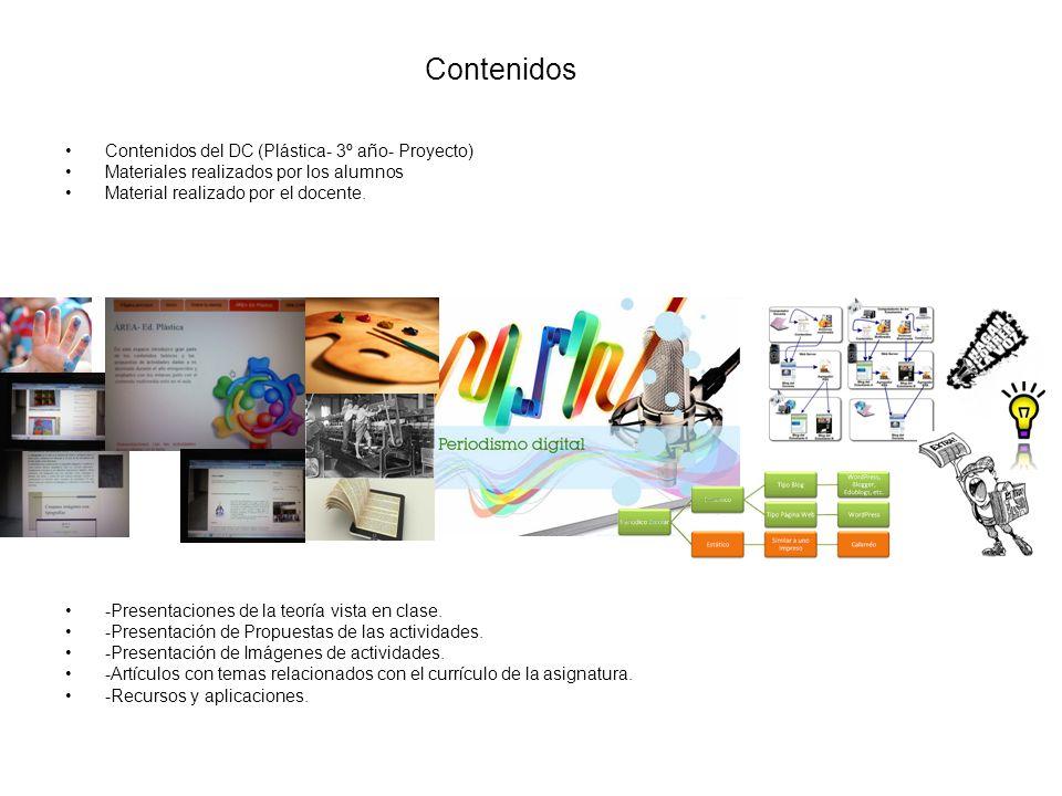 Contenidos Contenidos del DC (Plástica- 3º año- Proyecto) Materiales realizados por los alumnos Material realizado por el docente.
