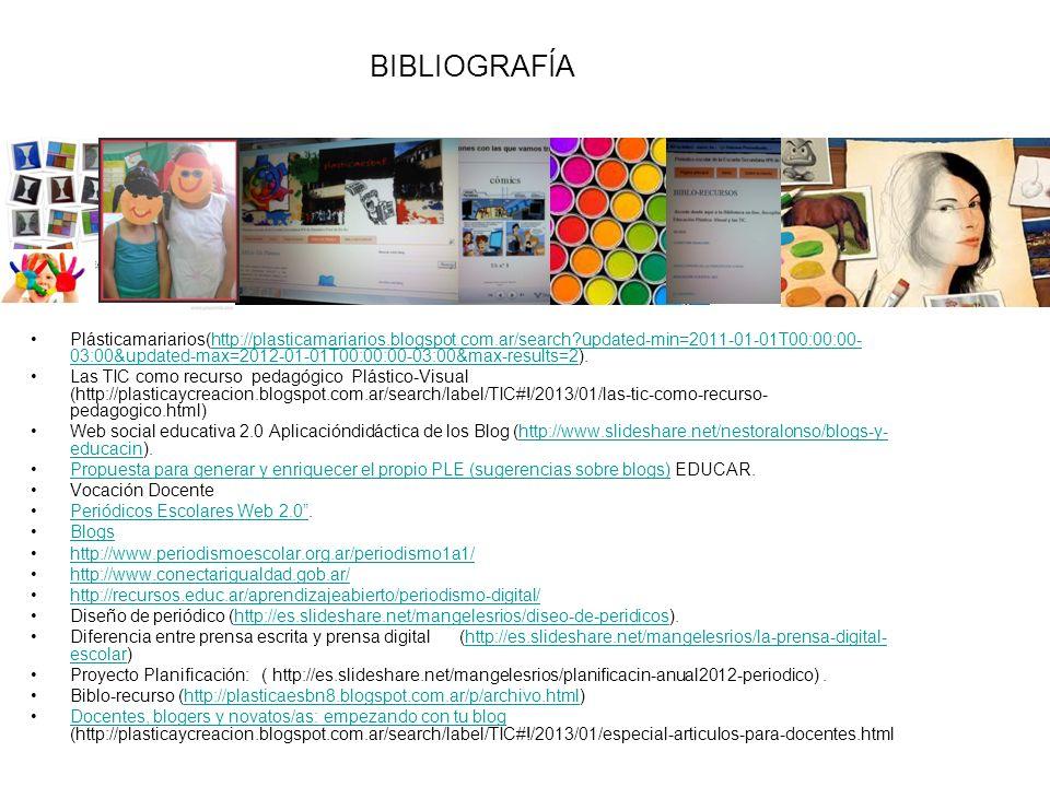 Plásticamariarios(http://plasticamariarios.blogspot.com.ar/search?updated-min=2011-01-01T00:00:00- 03:00&updated-max=2012-01-01T00:00:00-03:00&max-results=2).http://plasticamariarios.blogspot.com.ar/search?updated-min=2011-01-01T00:00:00- 03:00&updated-max=2012-01-01T00:00:00-03:00&max-results=2 Las TIC como recurso pedagógico Plástico-Visual (http://plasticaycreacion.blogspot.com.ar/search/label/TIC#!/2013/01/las-tic-como-recurso- pedagogico.html) Web social educativa 2.0 Aplicacióndidáctica de los Blog (http://www.slideshare.net/nestoralonso/blogs-y- educacin).http://www.slideshare.net/nestoralonso/blogs-y- educacin Propuesta para generar y enriquecer el propio PLE (sugerencias sobre blogs) EDUCAR.Propuesta para generar y enriquecer el propio PLE (sugerencias sobre blogs) Vocación Docente Periódicos Escolares Web 2.0 .Periódicos Escolares Web 2.0 Blogs http://www.periodismoescolar.org.ar/periodismo1a1/ http://www.conectarigualdad.gob.ar/ http://recursos.educ.ar/aprendizajeabierto/periodismo-digital/ Diseño de periódico (http://es.slideshare.net/mangelesrios/diseo-de-peridicos).http://es.slideshare.net/mangelesrios/diseo-de-peridicos Diferencia entre prensa escrita y prensa digital (http://es.slideshare.net/mangelesrios/la-prensa-digital- escolar)http://es.slideshare.net/mangelesrios/la-prensa-digital- escolar Proyecto Planificación: ( http://es.slideshare.net/mangelesrios/planificacin-anual2012-periodico).