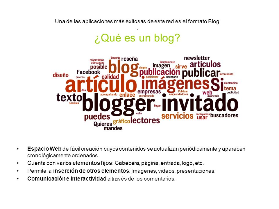 Una de las aplicaciones más exitosas de esta red es el formato Blog.
