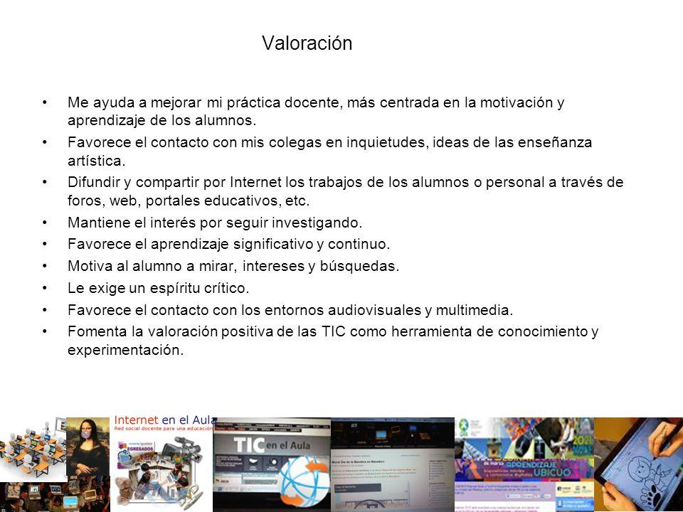 Valoración Me ayuda a mejorar mi práctica docente, más centrada en la motivación y aprendizaje de los alumnos.
