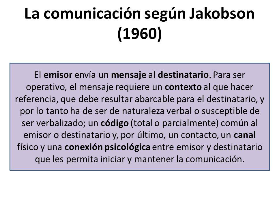 La comunicación según Jakobson (1960) El emisor envía un mensaje al destinatario.