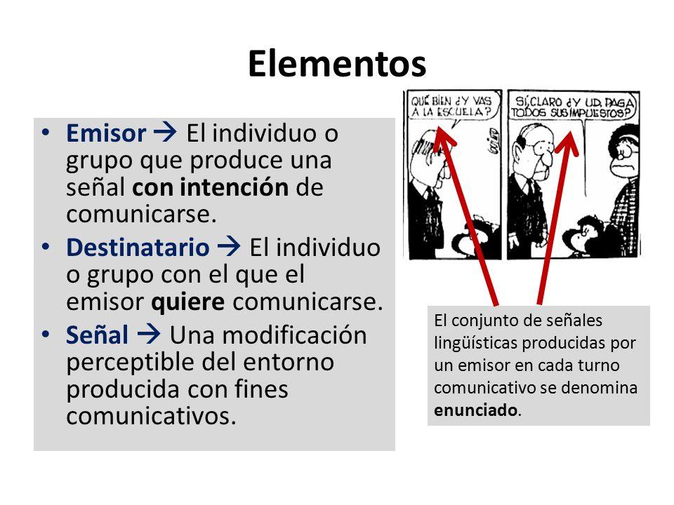 Elementos Emisor  El individuo o grupo que produce una señal con intención de comunicarse.