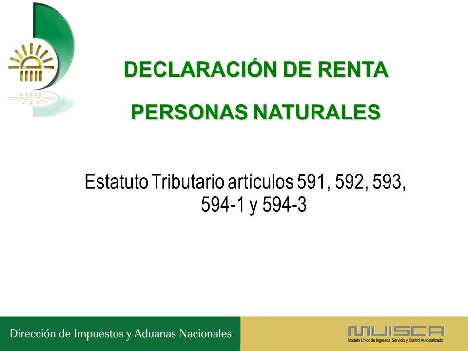 DECLARACIÓN DE RENTA PERSONAS NATURALES Estatuto Tributario artículos 591, 592, 593, 594-1 y 594-3