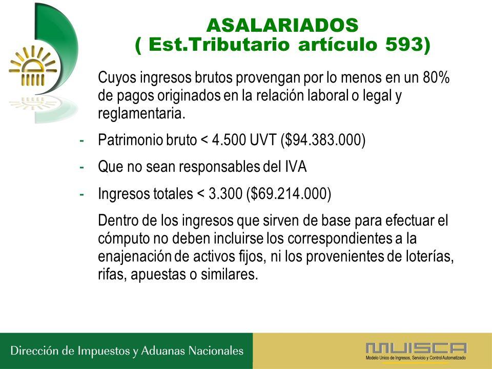 ASALARIADOS ( Est.Tributario artículo 593) Cuyos ingresos brutos provengan por lo menos en un 80% de pagos originados en la relación laboral o legal y reglamentaria.